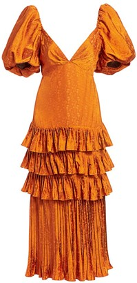 Johanna Ortiz Puff-Sleeve Tiered Ruffle Midi Dress