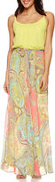 Robbie Bee Sleeveless Belted Chiffon Blouson Maxi Dress - Petite