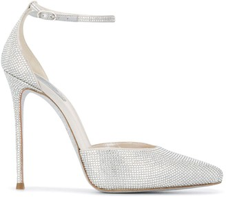 Rene Caovilla Crystal-Embellished Ankle Strap Pumps