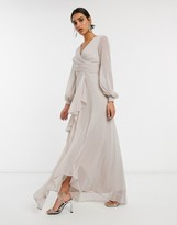 Asos Design DESIGN wrap waist maxi dress with double layer skirt and long sleeve