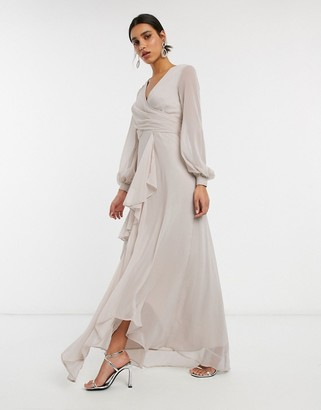 ASOS DESIGN wrap waist maxi dress with double layer skirt and long sleeve