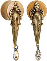 Body Candy Handcrafted Beechwood Art Deco Saddle Plug Set Created with Swarovski Crystals 5/8""