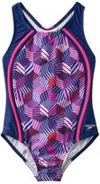 Speedo Girls 7-16 Patchwork Cubes Sport One-Piece Swimsuit