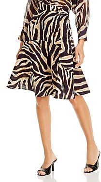 Gerard Darel Lillia Animal Print Cotton Midi Skirt