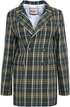 Plan C Check Double Breasted Blazer
