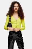 Topshop Womens Petite Lime Green Ribbed Lace Cardigan - Lime