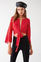 Backstage Imperial Tie-Front Polka Dot Top