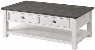 Martin Svensson Home Monterey Solid Wood Coffee Table, White, Gray