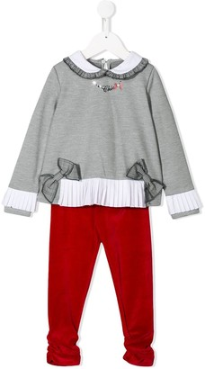 Lapin House Pleated Detail Bow Embellished Tracksuit Set