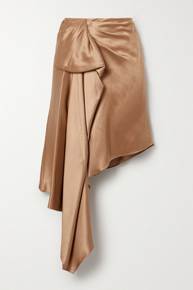 Cushnie Asymmetric Draped Silk-charmeuse Skirt - Sand