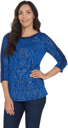 Susan Graver Printed Foiled Liquid Knit 3/4-Sleeve Top