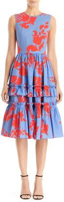 Carolina Herrera Floral Print Sleeveless A-Line Dress