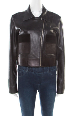 Balenciaga Black Lamb and Calf Leather Zip Front Cropped Biker Jacket M