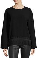 Public School Riza Long-Sleeve Crepe Fringe-Trim Top, Black