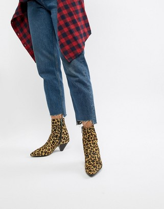 Bronx leopard print pony pointed heeled ankle boots