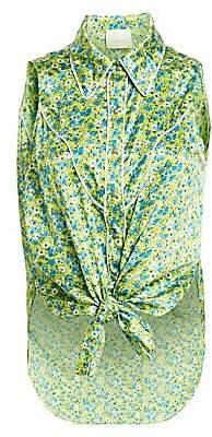 Cinq à Sept Women's Leon Floral Tie-Front Sleeveless Blouse