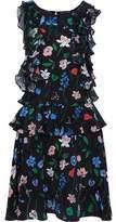Markus Lupfer Ruffled Floral-Print Silk-Georgette Dress