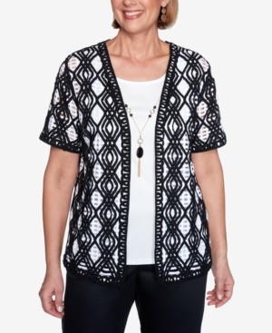 Alfred Dunner Petite Zanzibar Layered-Look Lace Necklace Top
