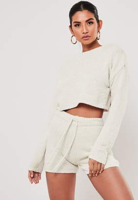 Missguided Cream Co Ord Soft Touch Cropped Jumper