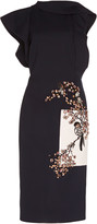 Oscar de la Renta Embellished Ruffled Wool-Blend Midi Dress