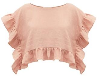 Araks Yalitha Ruffled Linen Blouse - Womens - Pink