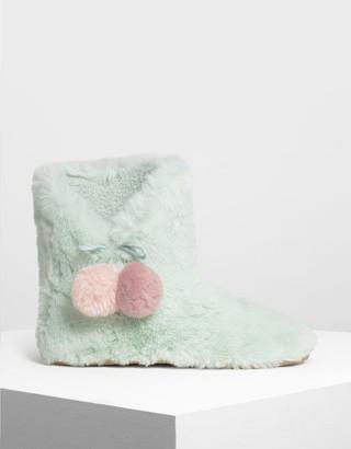 Charles & Keith Furry Pom Pom Boots