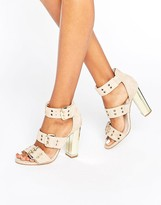 Office Shots Eyelet Strap Suede Block Heeled Sandals