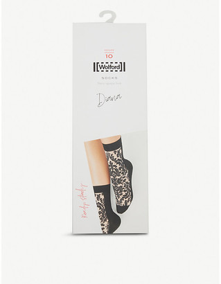 Wolford Diana floral-embroidered socks