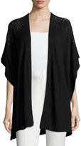 Neiman Marcus Studded Open-Front Draped Vest, Black
