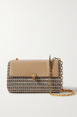 THE VOLON Po Trunk Tweed And Smooth And Textured-leather Shoulder Bag - Beige