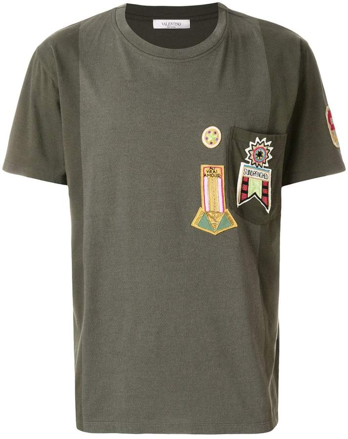 Valentino military embroidered applique T-shirt