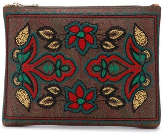 Etro floral embroidery clutch bag