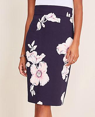 Ann Taylor Floral High Waist Pencil Skirt