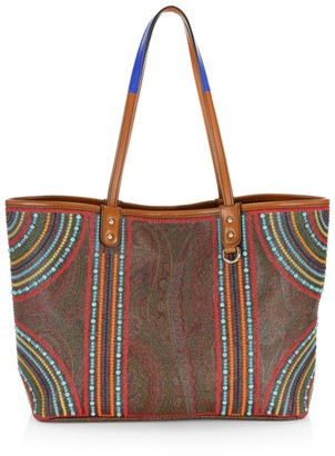 Etro Multi-Color Beaded Paisley Shopping Tote