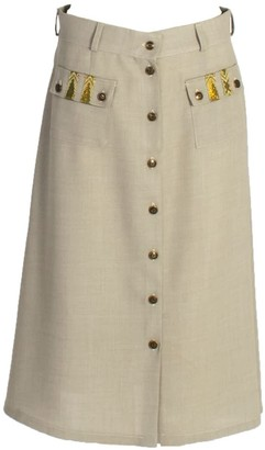 Relax Baby Be Cool A-Line Wool Button Up Midi Skirt With Pockets Grey