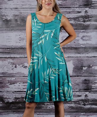 Beyond This Plane Women's Casual Dresses TRQ - Turquoise & Black Leaves Side-Pocket Sleeveless Dress - Women & Plus