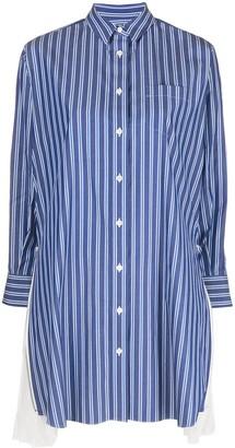 Sacai Pleated Sides Pinstriped Shirt Dress