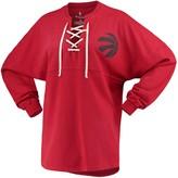 Women's Fanatics Branded Red Toronto Raptors Lace-Up Spirit Jersey Long Sleeve T-Shirt
