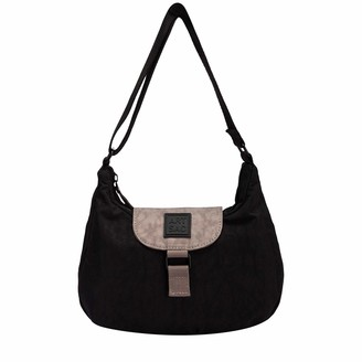 Artsac Womens Zip Top Flap Fastening Shoulder Bag Shoulder Bag Black (Black)