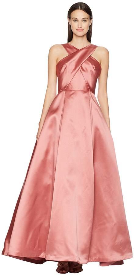 ML Monique Lhuillier Cross Front Satin Gown Women's Dress