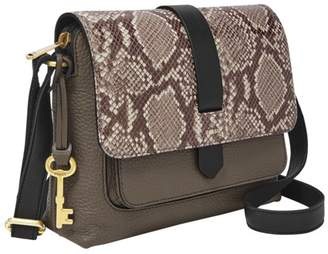 Fossil Kinley Small Crossbody Handbags Taupe Snake/Black