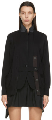 Sacai Black Knit and Suiting Cardigan