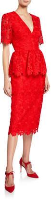 Badgley Mischka V-Neck Short-Sleeve Scallop Lace Peplum Dress