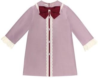 Gucci Kids Bow-embellished cotton-blend dress