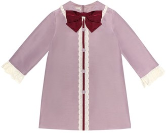 Gucci Kids Bow-embellished cotton-blend dress