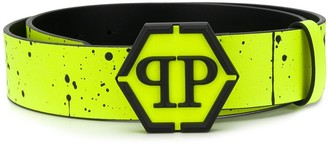 Philipp Plein Paint Splatter branded belt