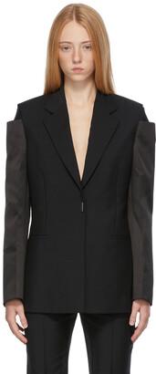 Givenchy Black Mohair Satin Sleeves Blazer