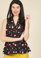 Great Gal in the Corner Office Floral Top in Black Bloom in XS