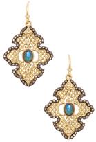Armenta Old World 18K Gold, Malachite, Moonstone & 0.54 Total Ct. Diamond Large Scroll Mesh Earrings