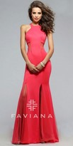 Faviana Raven Split Illusion Prom Dress